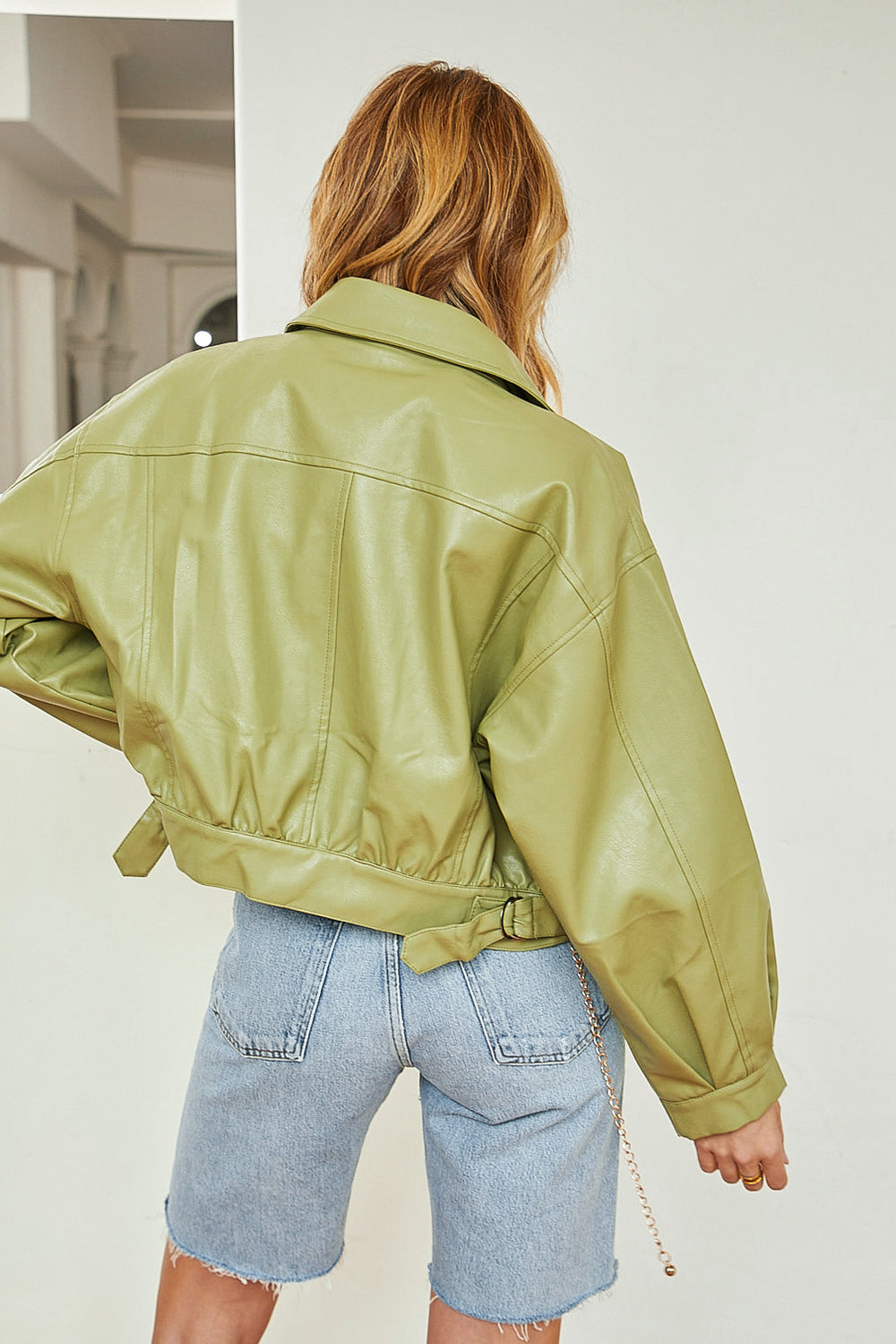 Miles Away Pistachio Vegan Leather Jacket