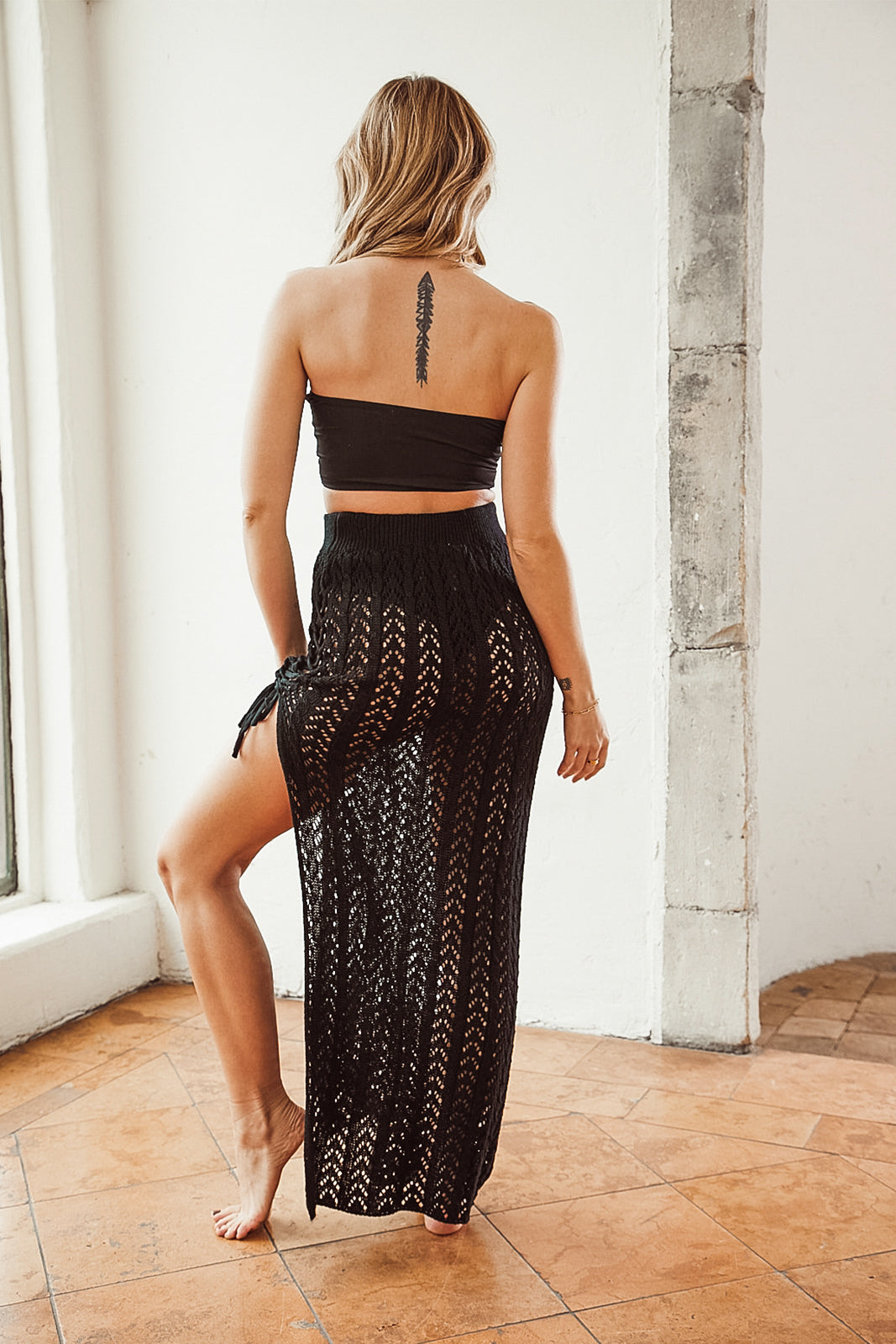 Full Moon Crochet Black Maxi Skirt