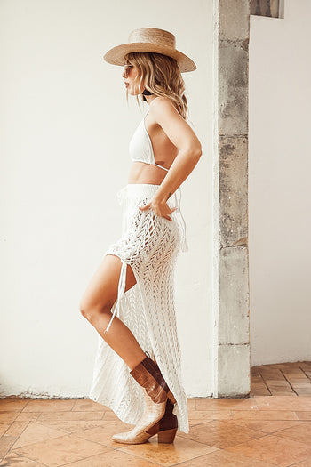 Full Moon Crochet Ivory Maxi Skirt