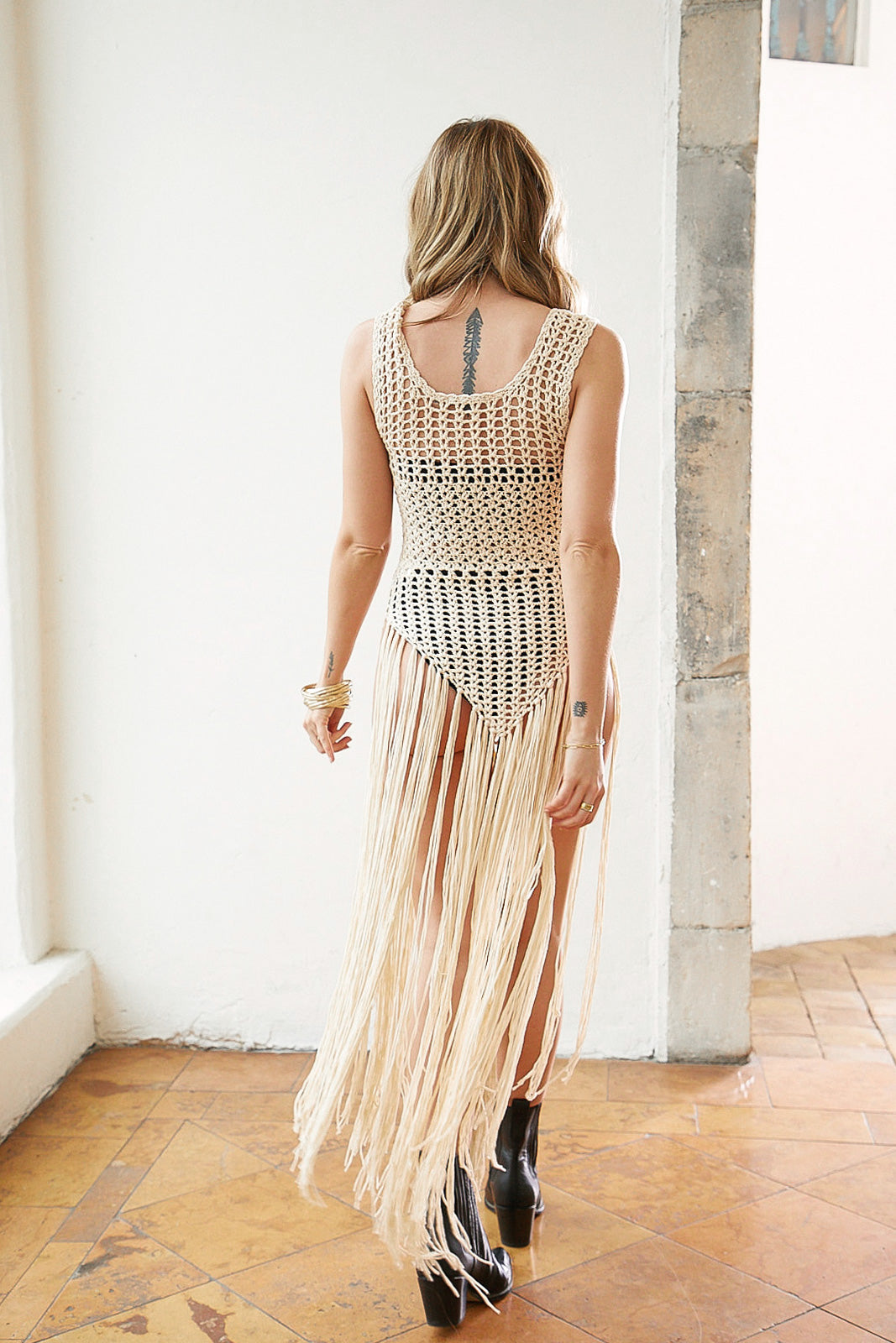 Down Wind Crochet Fringe Dress