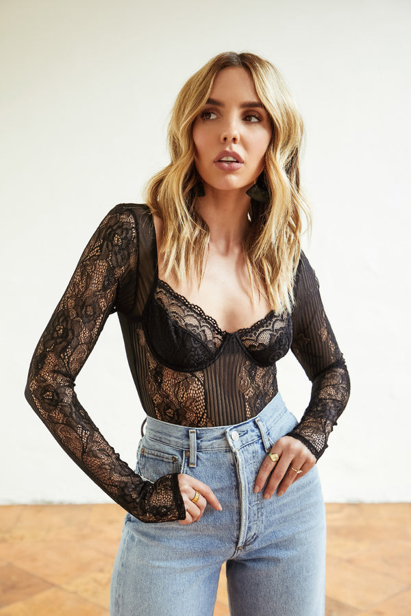 First Glance Lace Mesh Bodysuit