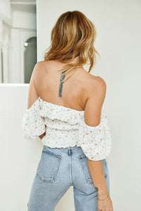 Magnolia Floral Puff Sleeve Smocked Top