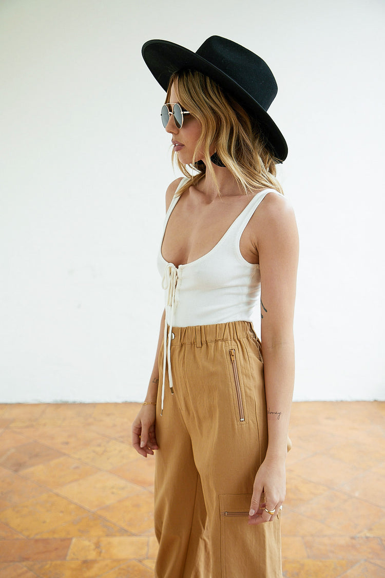 Blank Page Lace Up Bodysuit