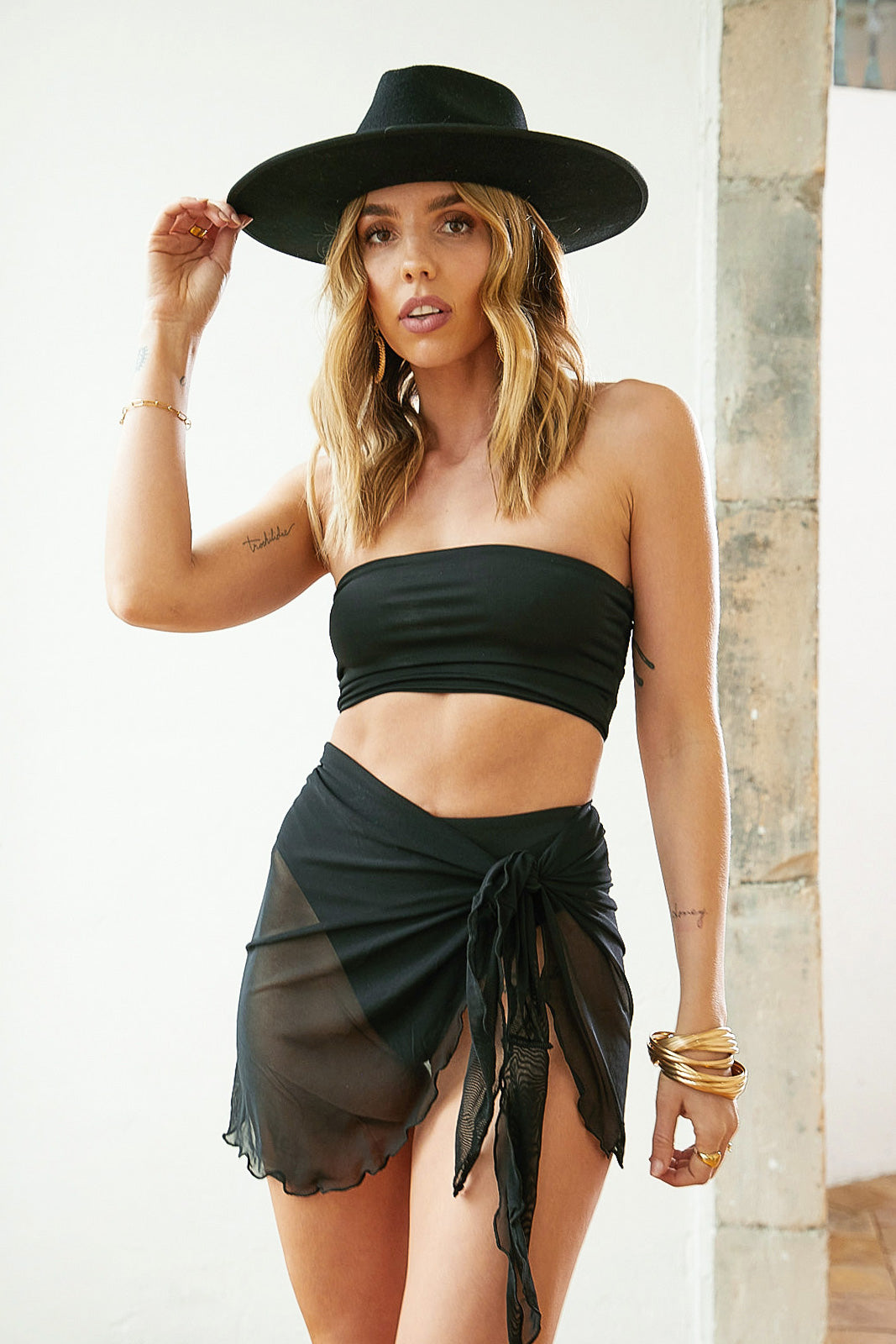 Read My Mind Black Bandeau Top