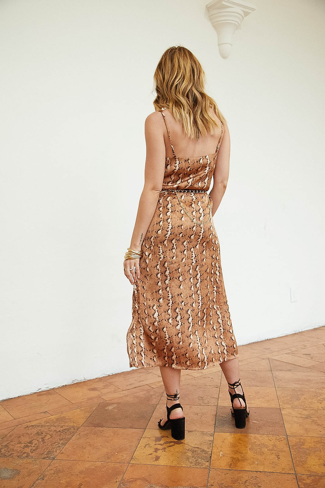 Aria Snake Midi Slip Dress