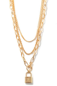 Safe and Sound Gold Lock Necklace
