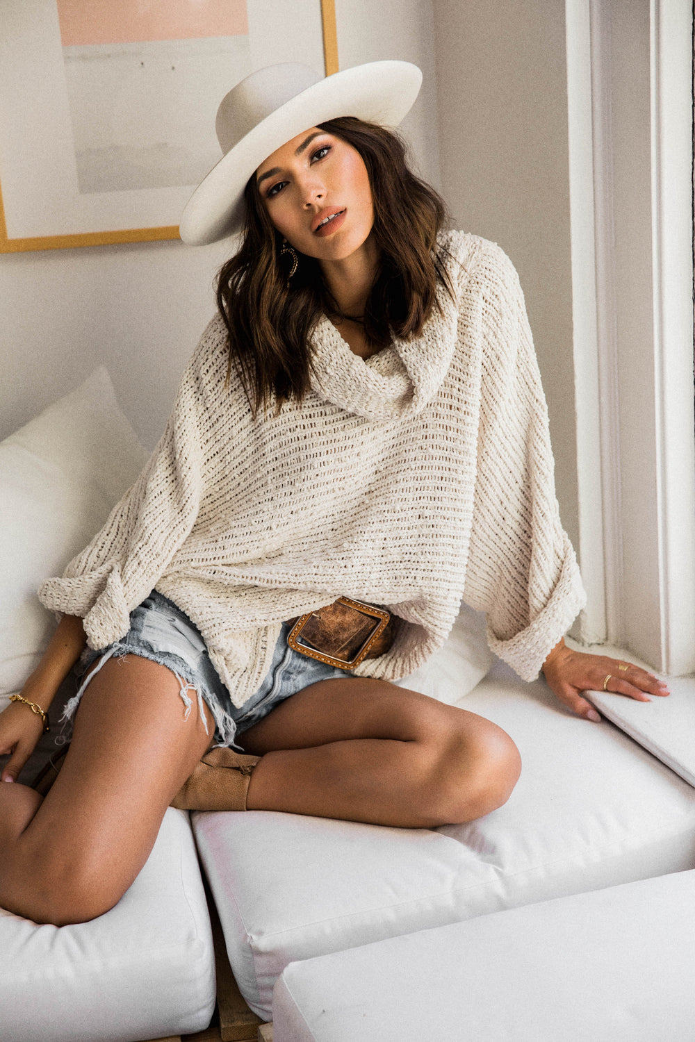 Freya Popcorn Cowl Neck Sweater