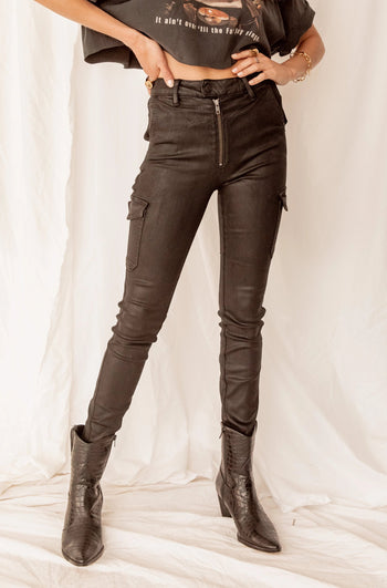 All Nighter Black Coated High Rise Skinny Jeans
