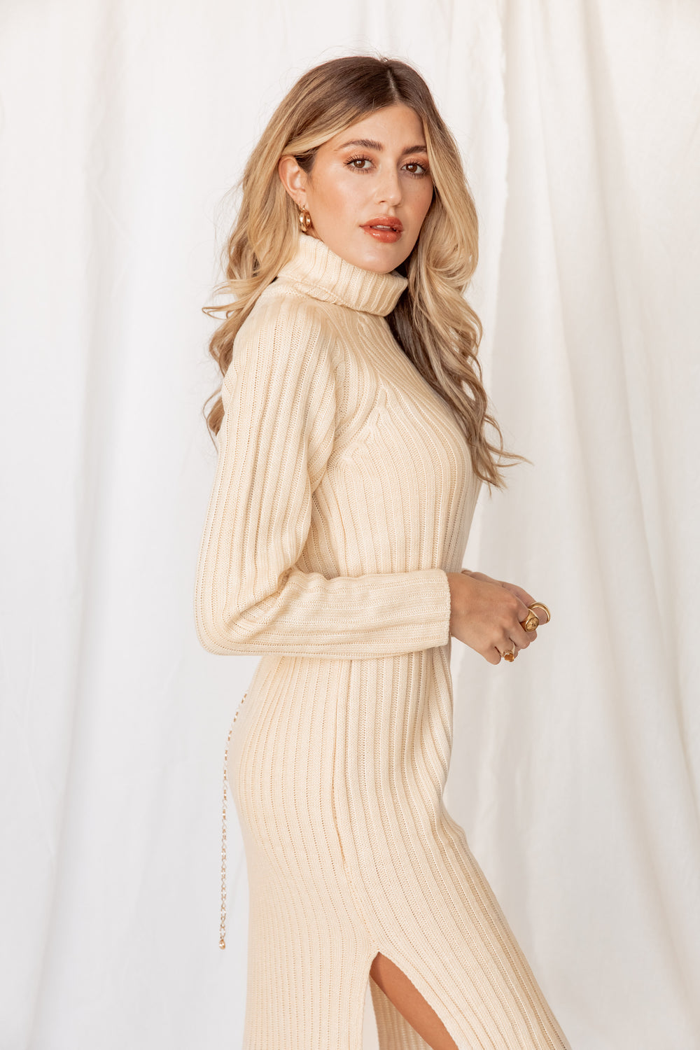 Timeless Ivory Midi Sweater Dress - SHOWROOM EXCLUSIVE