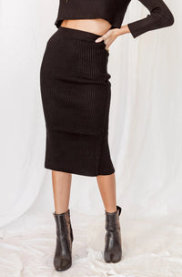 Business As Usual Ribbed Midi Skirt
