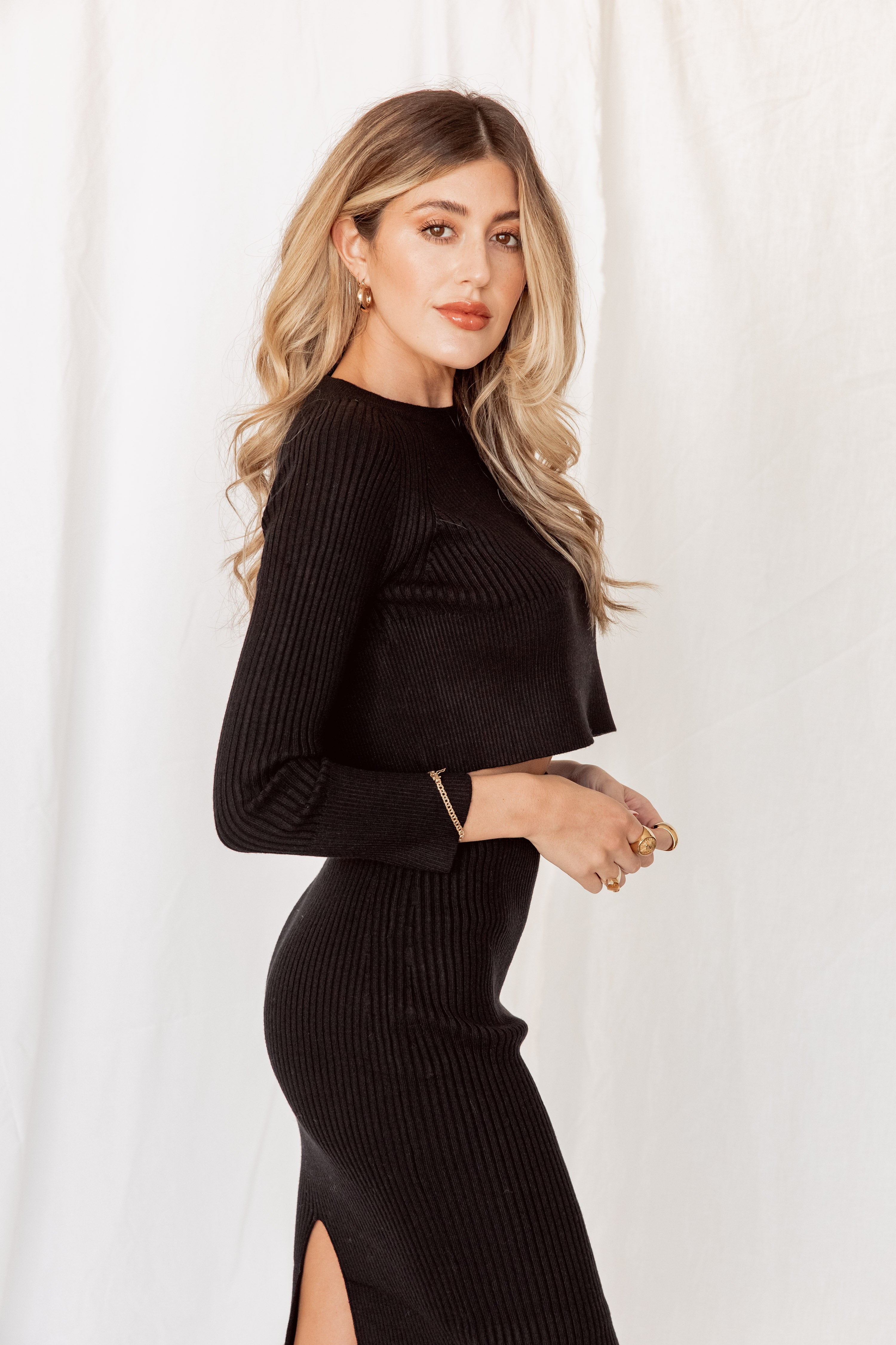 Business As Usual Ribbed Crop Sweater