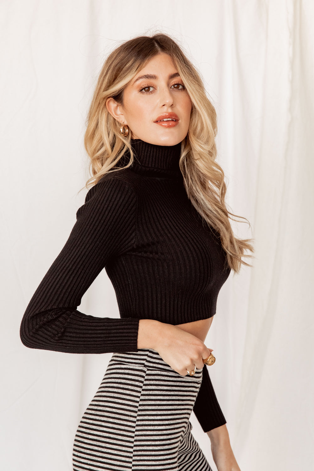 Throwback Turtleneck Ribbed Black Top