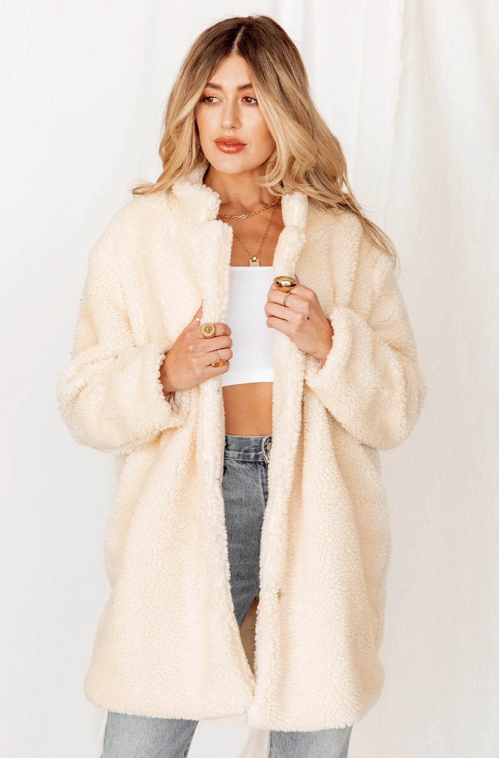 Snowed In Ivory Sherpa Coat