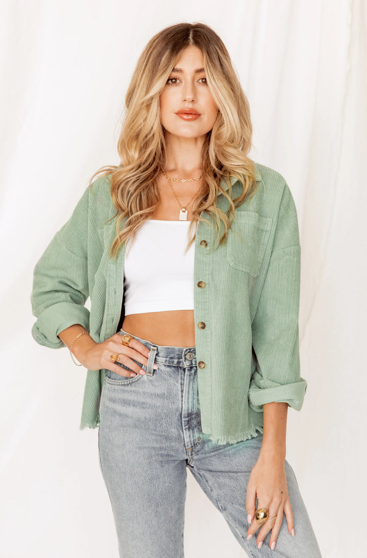 Back To You Mint Corduroy Jacket