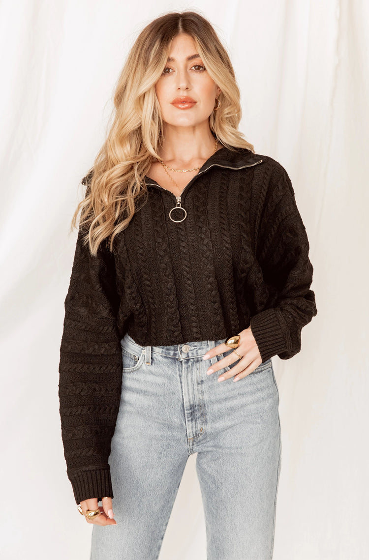 Finders Keepers Black Quarter Zip Sweater