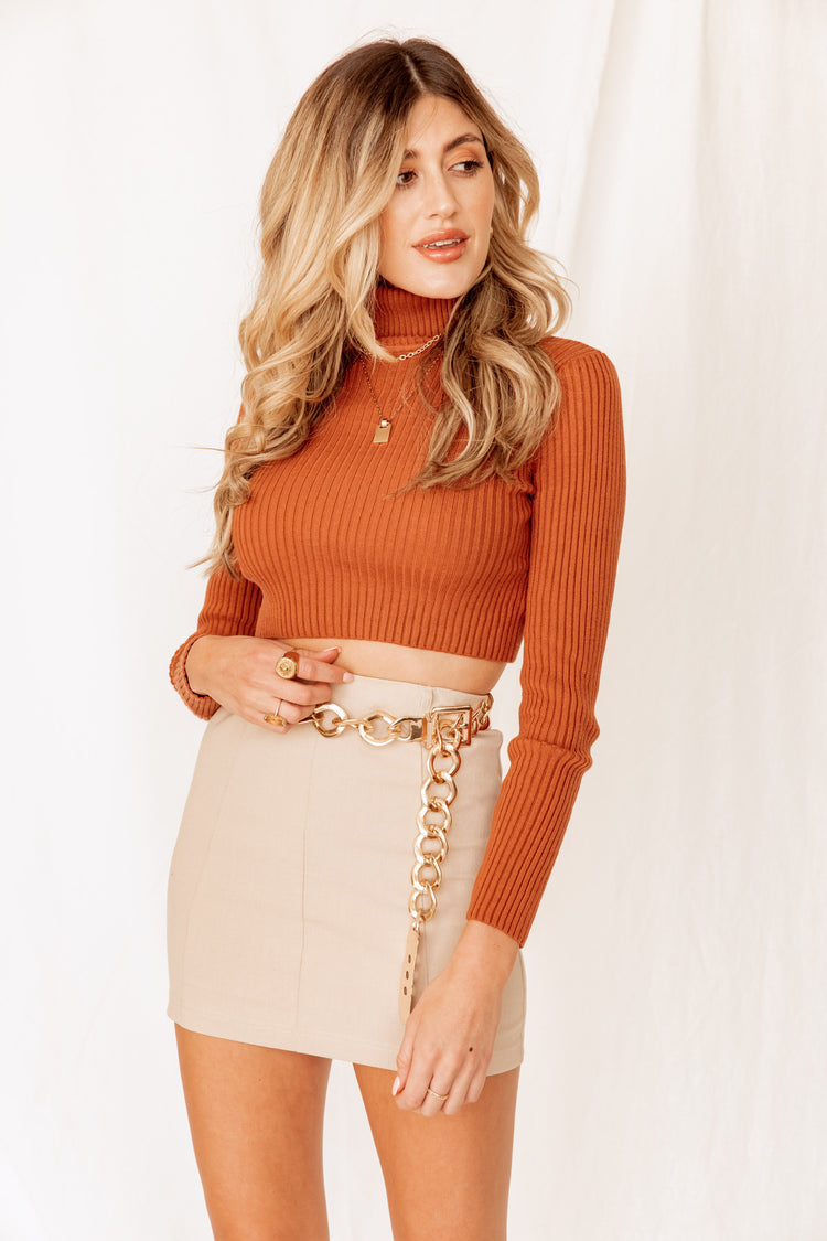 Throwback Turtleneck Ribbed Rust Top