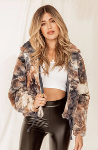 Coastline Tie Dye Faux Fur Jacket