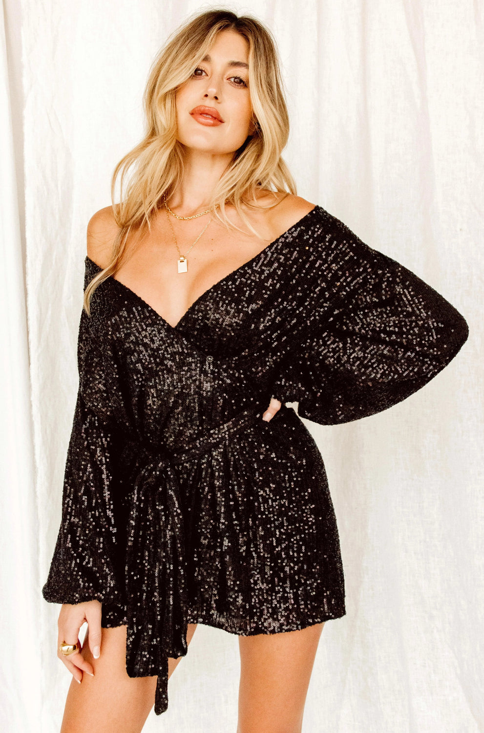 Now Or Never Black Sequin Wrap Dress
