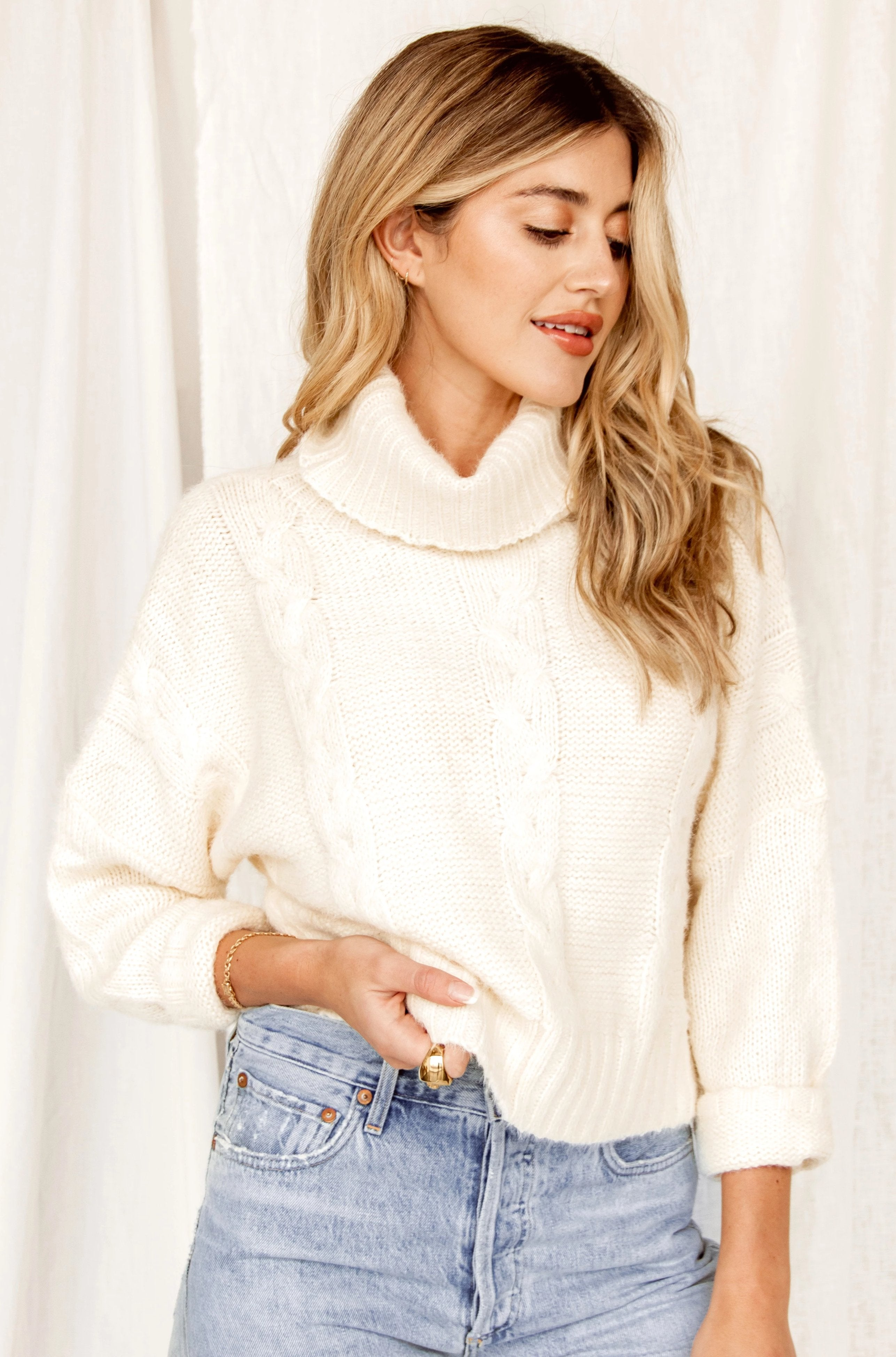 Runyon Turtleneck Cable Knit Sweater