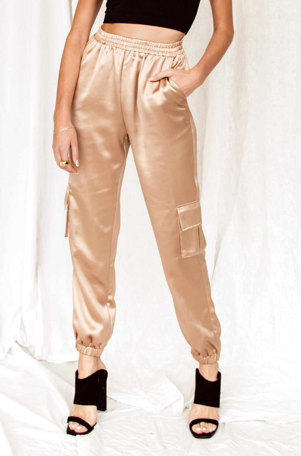 Stop And Stare Gold Satin Joggers