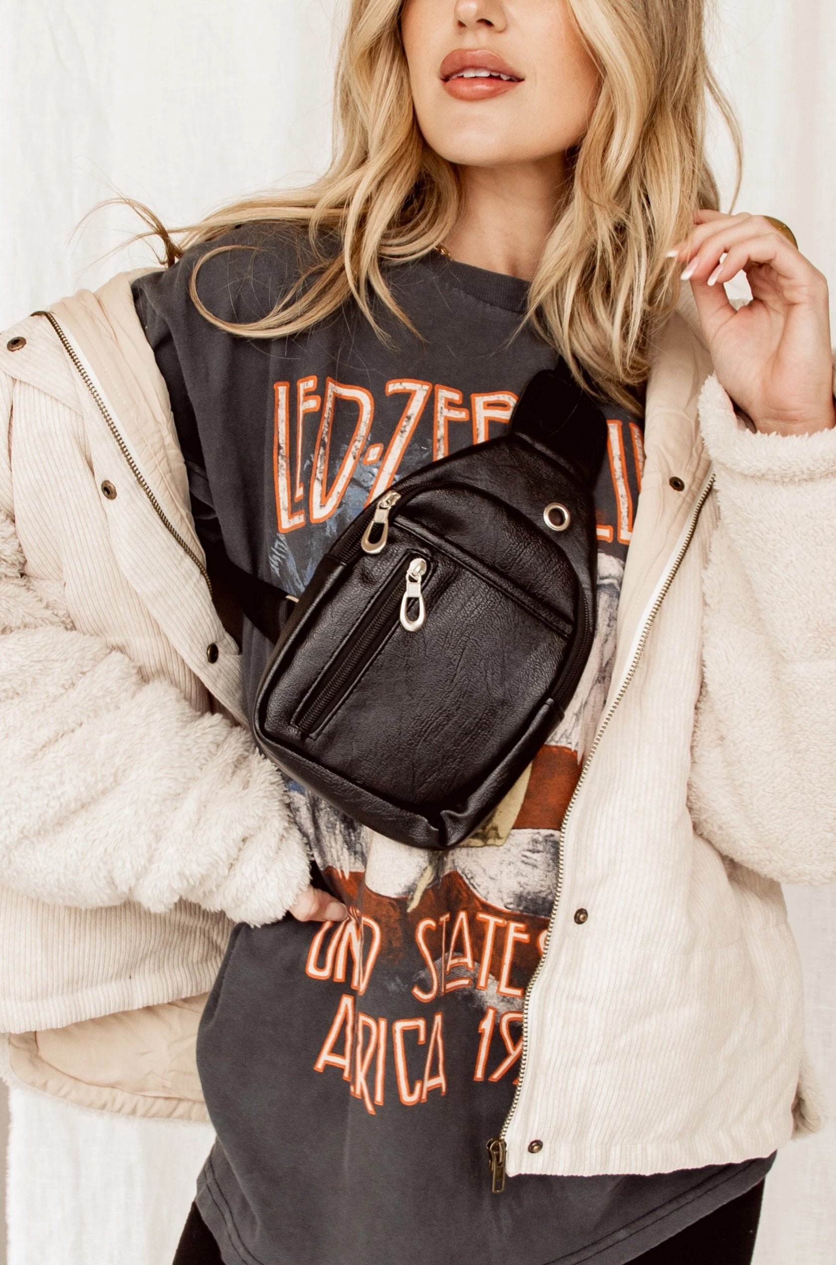 Ayla Black Vegan Leather Crossbody Bag