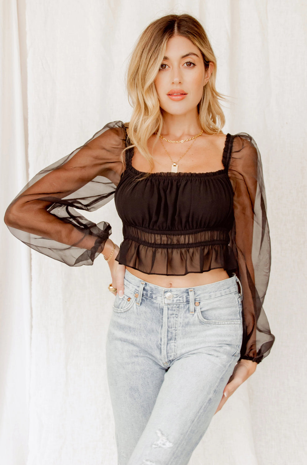 Uptown Girl Ruched Black Top