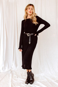 Victoria Black Ribbed Long Sleeve Sweater Dress
