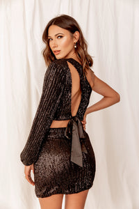 Midnight Fever One Shoulder Sequin Top