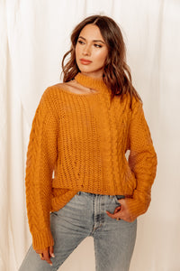 Joshua Tree Mustard Mock Neck Sweater