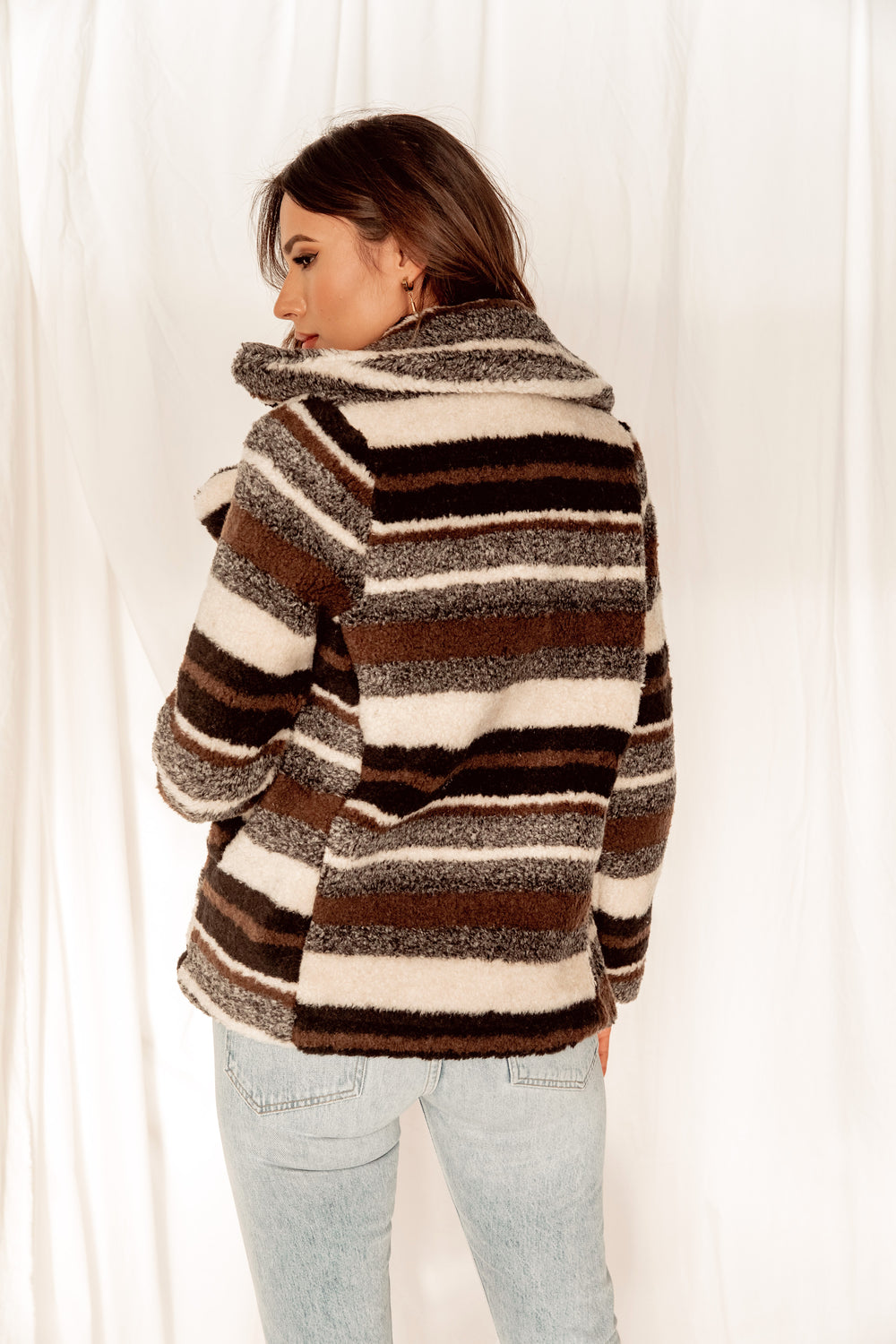 Rae Multi-Striped Faux Fur Coat