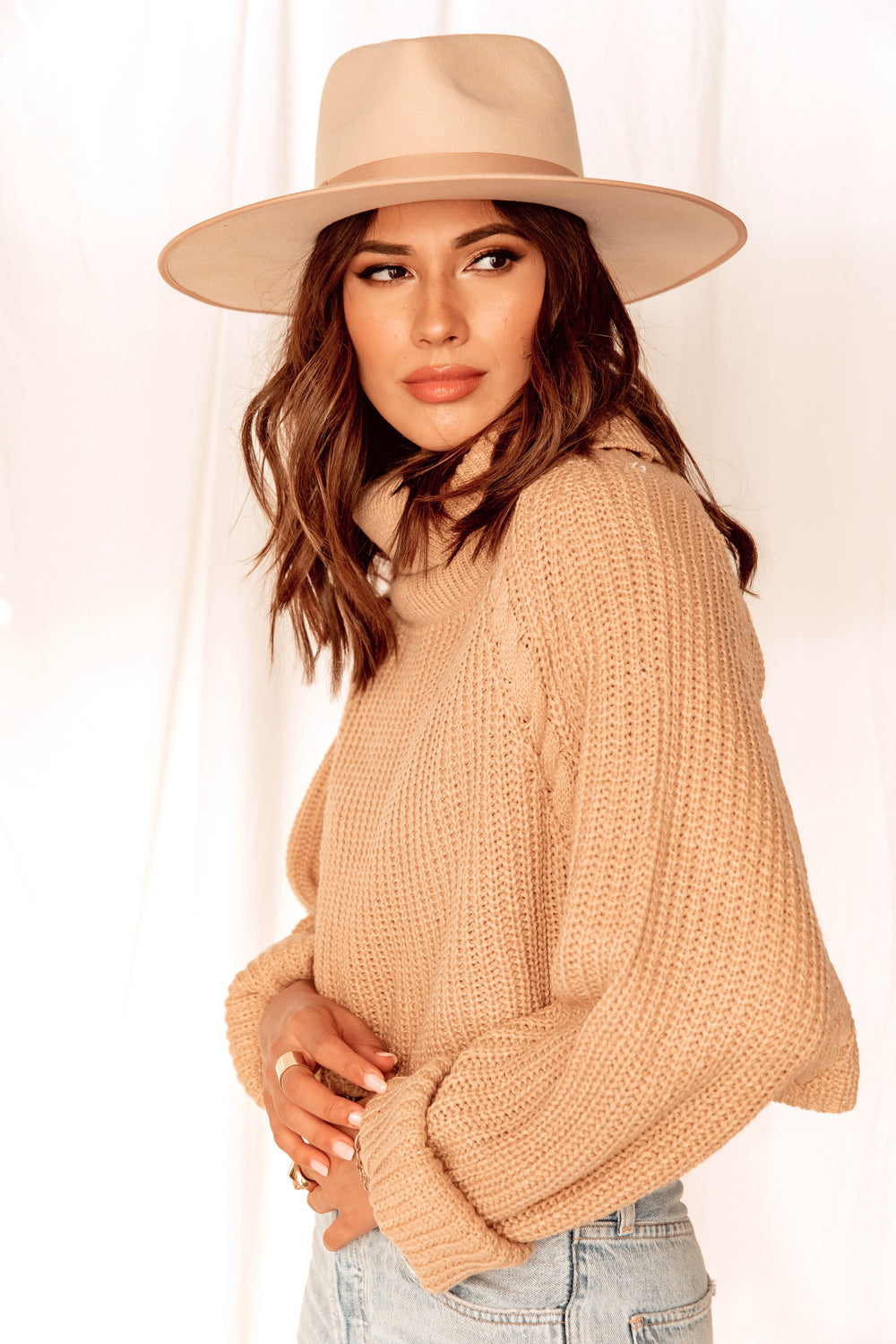No Chill Caramel Crop Sweater