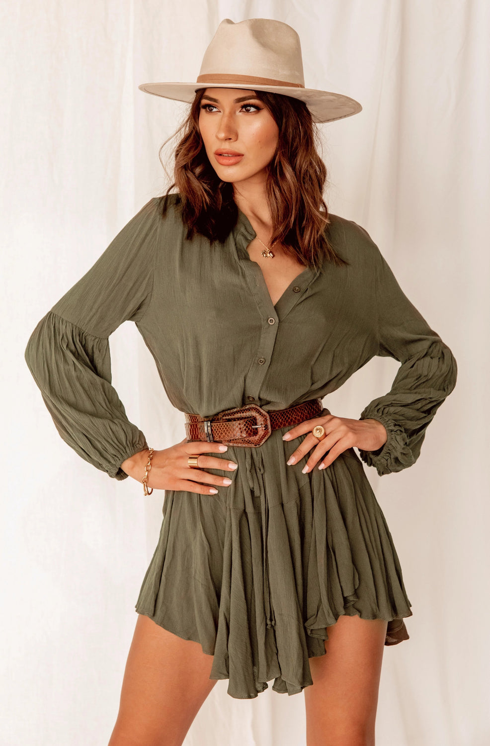 Wait A Minute Olive Ruffled Dress