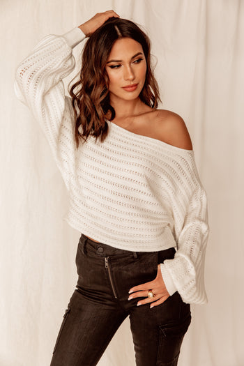 Double Booked White Cropped Sweater