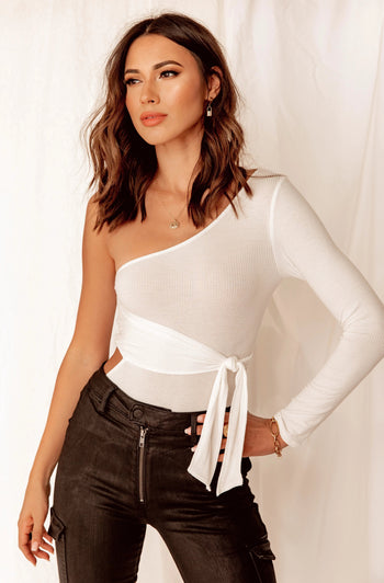 Make You Mine White One Shoulder Bodysuit