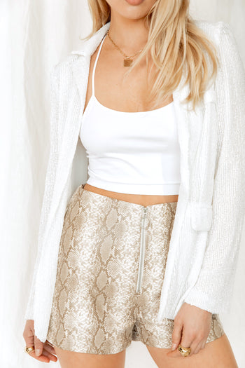 On The Edge Vegan Leather Snake Print Shorts