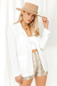 Fool To Love White Sequin Blazer