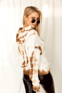 Gold Coast Tie Dye Knit Camel Sweater