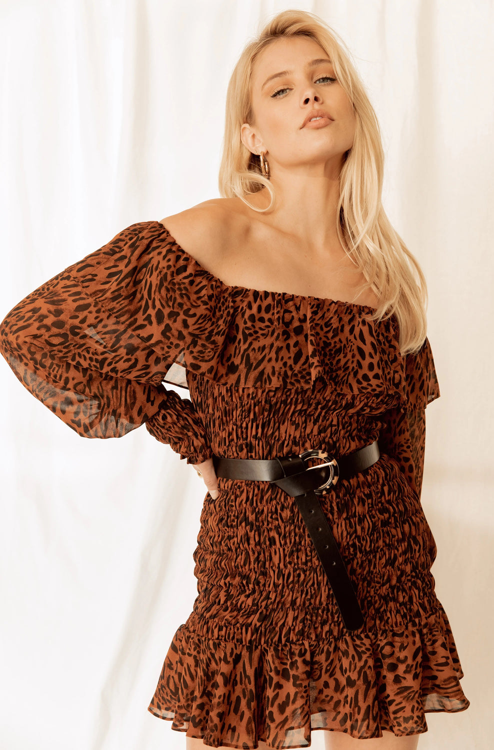 Alondra Smocked Leopard Mini Dress