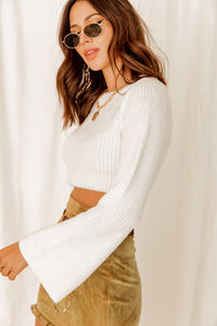 French Flair White Cropped Sweater