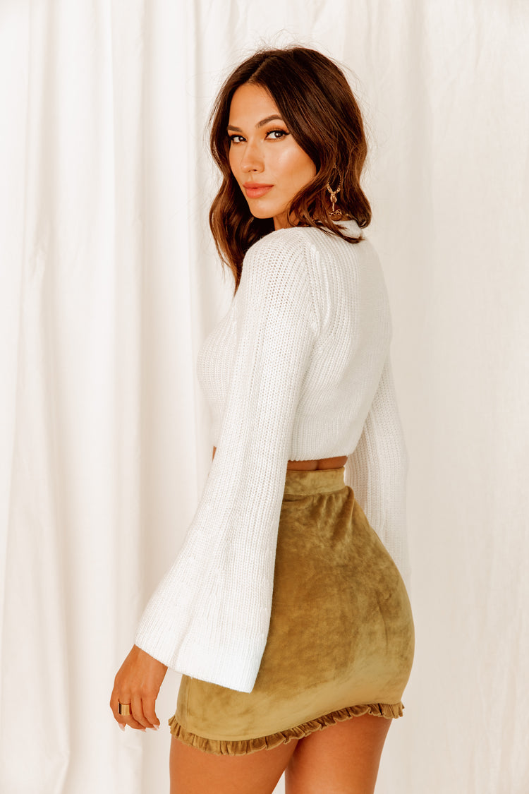 Count Me In Olive Velvet Mini Skirt