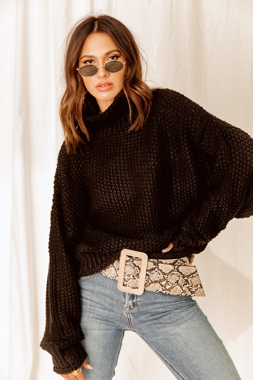 Reason to Stay Black Turtleneck Sweater