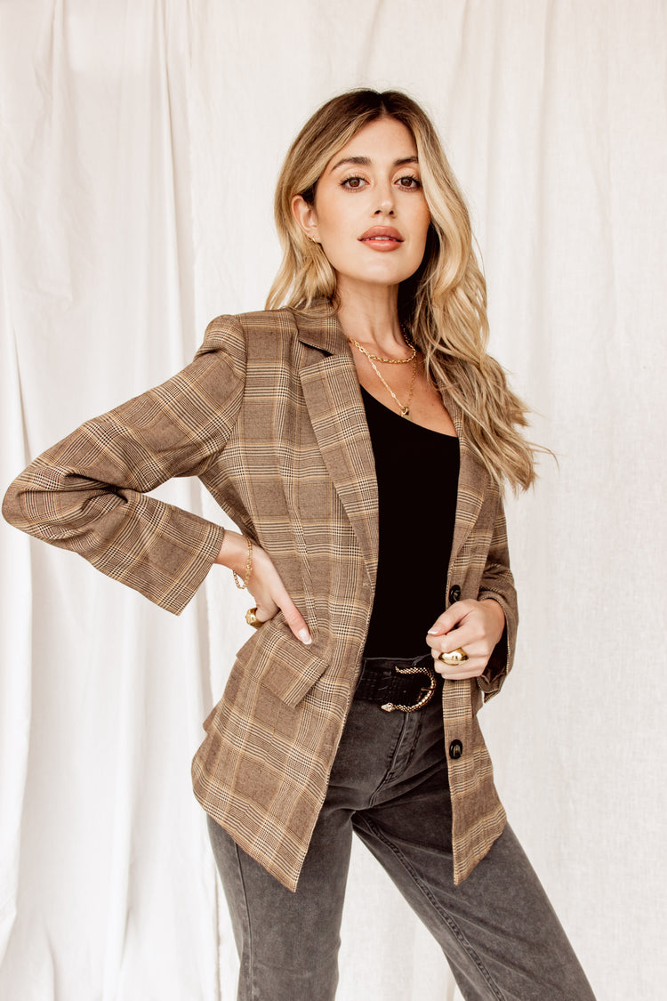 Newport Plaid Brown Blazer