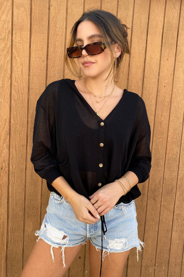 Saylor Black Knit Top
