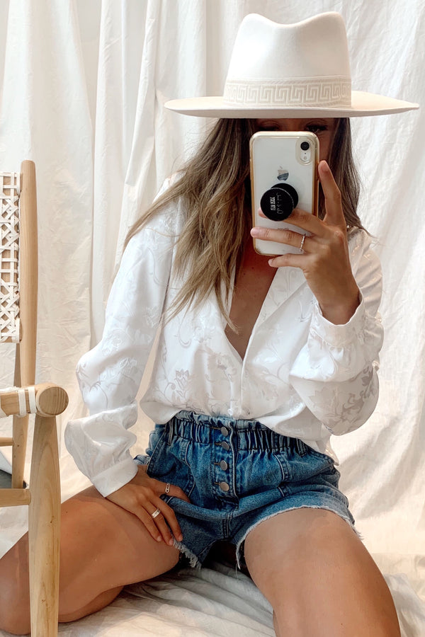Stuck in Santorini White Blouse