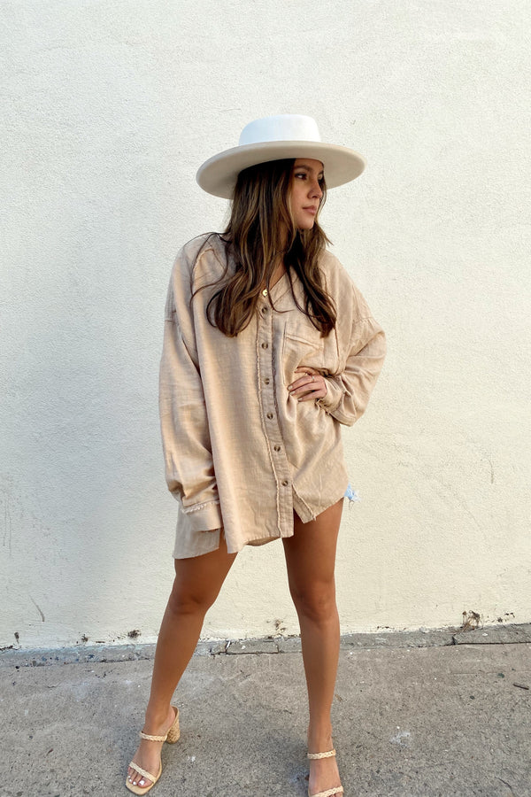 Southbound Tan Button Down Shirt