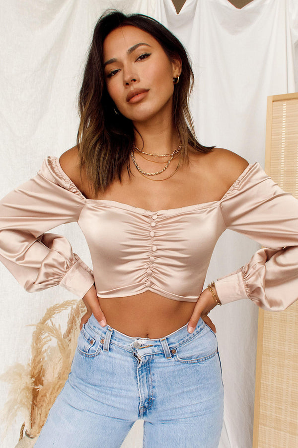 City of Lights Beige Satin Top