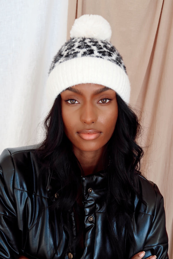 Holly Ivory Leopard Beanie