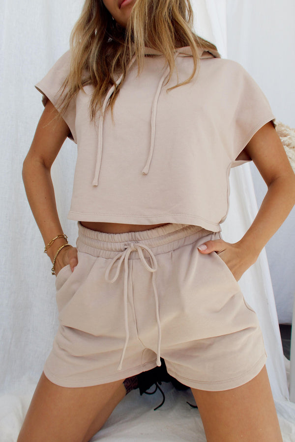 Up Front Beige Shorts