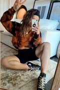 West Coast Orange Marble Tie Dye Crewneck