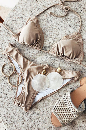 Dipped In Gold Bikini Top